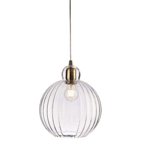 Firstlight Victory - 1 Light Globe Ceiling Pendant Antique Brass, Clear Glass, E27