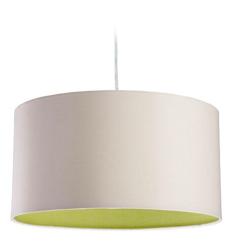 Firstlight Zeta - 1 Light Round Ceiling Pendant Cream, Green Inside, E27