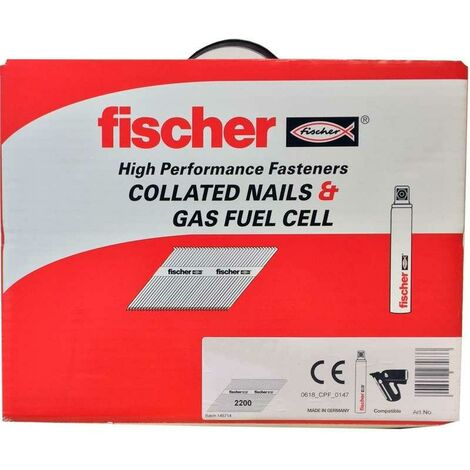 Fischer 51mm Collated Ring Shank Nails & 3 Gas Fuel Cells Galv ( 3300)