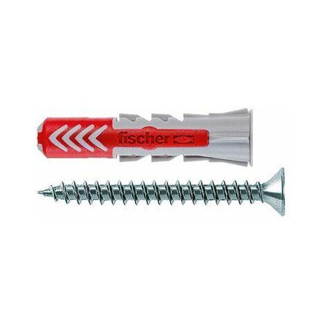 fischer Dübel DUOPOWER 10x50 S LD, hellgrau/rot, 25 Stück, mit Schraube