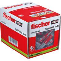 fischer Dübel DUOPOWER 10x80, hellgrau/rot, 25 Stück