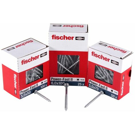 Fischer Power-Fast II FPF II Vis à bois aggloméré 4,5x50 mm, 300 pcs., tête ronde, empreinte Torx, filetage total, zingué et passivé bleu ( 670333 )