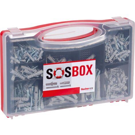 fischer SOSBOX Dübel S + FU + Schrauben, hellgrau, 360-teilig
