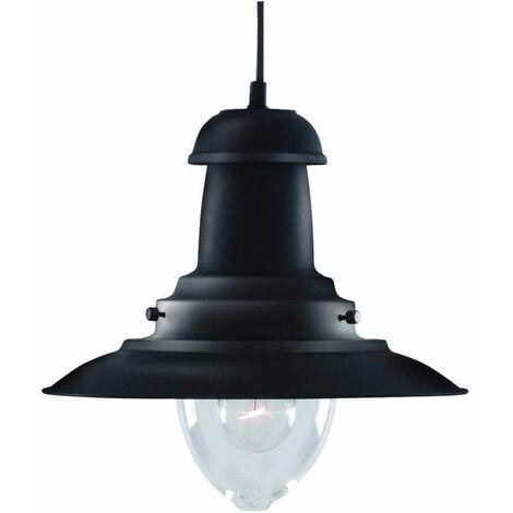 Fisherman 1-light hanging lamp, glass, black
