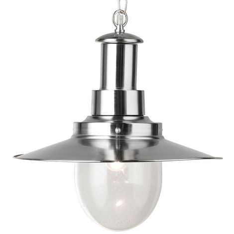 FISHERMAN PENDANT - 1 LIGHT LARGE PENDANT SATIN SILVER WITH SEEDED GLASS