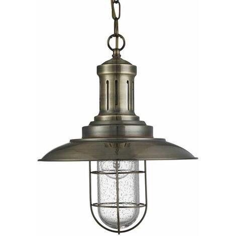 Fisherman pendant light 30 cm, in antique brass and glass