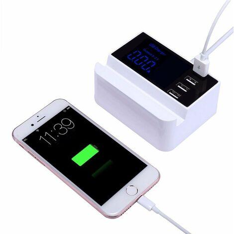 FISHTEC® Station de Charge USB Multi 4 Ports - Ecran LCD Rétroéclairé - Total 4.1A