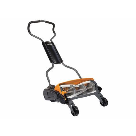 Fiskars 1000591 - Tondeuse à gazon manuelle - Tondeuse à cylindre avec système de coupe sans frottement des lames - 46 cm - Noir/Orange/Argenté