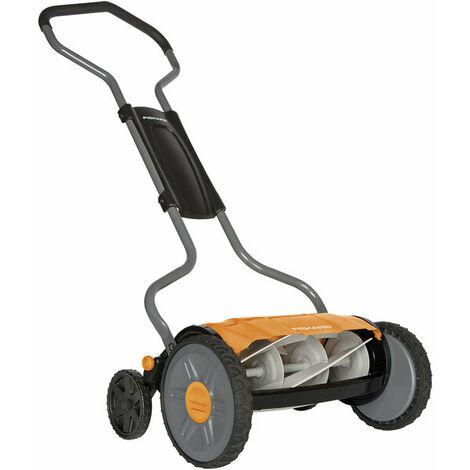 Fiskars 1015649 - Tondeuse à gazon manuelle - Tondeuse à cylindre avec système de coupe sans frottement des lames - Largeur de coupe: 43 cm - StaySharp Plus - Noir/Orange/Argenté - 1015649