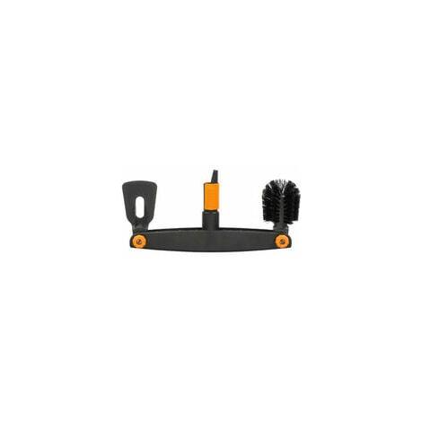 Fiskars Limpiador de canalones, Con raspador y cepillo ajustables, Cabezal de herramienta QuikFit, Largo: 4,5 cm, Negro/Naranja, QuikFit, 1001414