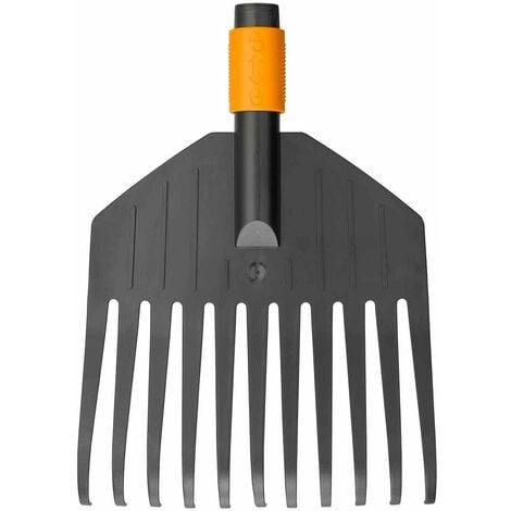 Fiskars Rastrillo pequeño para hojas, cabeza de la herramienta, 11 dientes, Longitud: 21,3 cm, dientes de plástico, Negro/Naranja, QuikFit, 1000659
