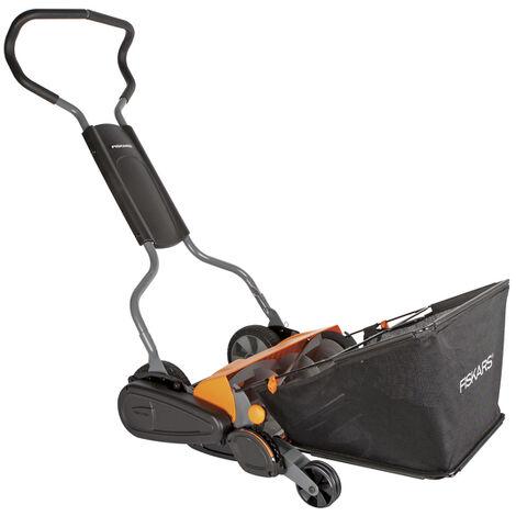 Fiskars StaySharp Max - Set de Tondeuse à gazon avec bac de ramassage - Largeur de coupe : 46cm