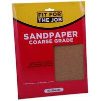 Fit For The Job FFJASP10C Sandpaper Coarse Grade Grades Pack of 10