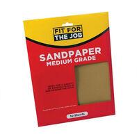 Fit For The Job FFJASP10M Sandpaper Medium Grade Grades Pack of 10