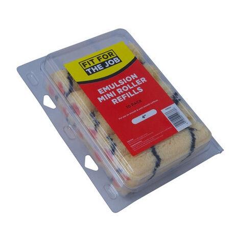 """Fit For The Job FRRE004 Mini Emulsion Roller Refills 4"""" Pack of 10"""