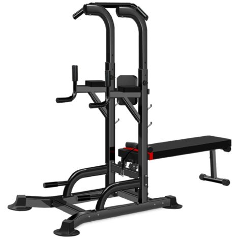 Fitness Multifunction Power Tower chin-up dip station equipped with adjustable bench bar for traction, bending and abdominals