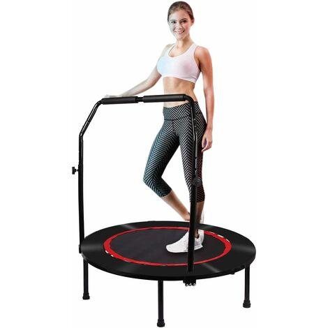 Fitness Trampolin Faltbares Jumping Trampolin mit Sicherheitspad Übungs-Rebounder, Verstellbarer Griff, Mini-Trampolin für Kinder Erwachsene