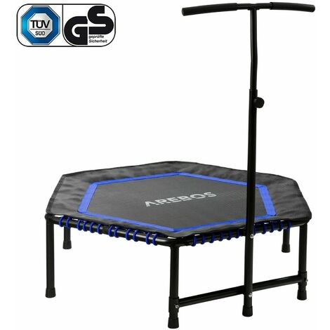 Fitness Trampoline Mini Trampoline Trampoline with Handlebar Hexagonal Blue