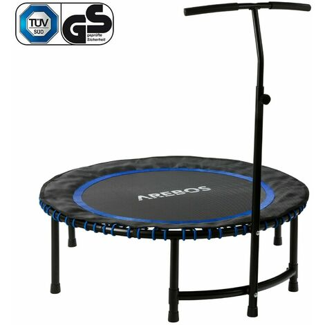 Fitness trampoline Mini trampoline Trampoline with handlebar round Blue