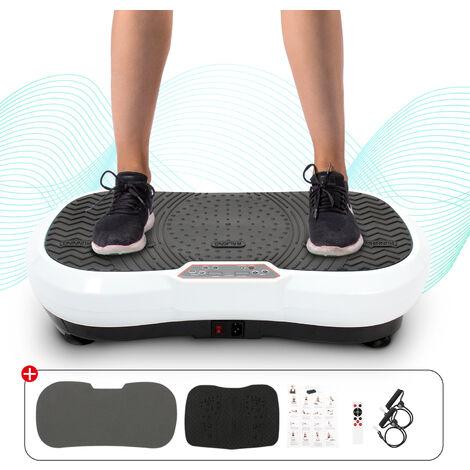 Fitness Vibrating Machine, Vibration Plate, White, 180 Levels, Remote control, Resistance Bands & Yoga Mat, Size: 69 x 39 x 13 cm (27.2 x 15.4 x 5.1 inch)