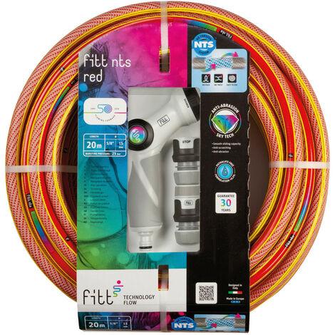 """FITT NTS Red 1/2"""" 20m Kit avec Accessoires – Tuyau d'arrosage de jardin solide et malléable rouge vif pour une utilisation intensive fourni avec pistolet à jet multiple et raccords avec des technologies exclusives"""