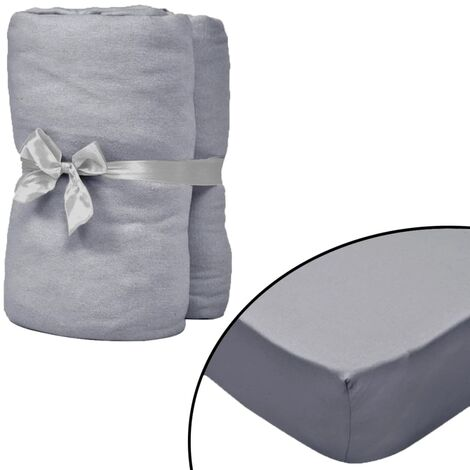 Fitted Sheets for Cots 4 pcs Cotton Jersey 40x80 cm Grey
