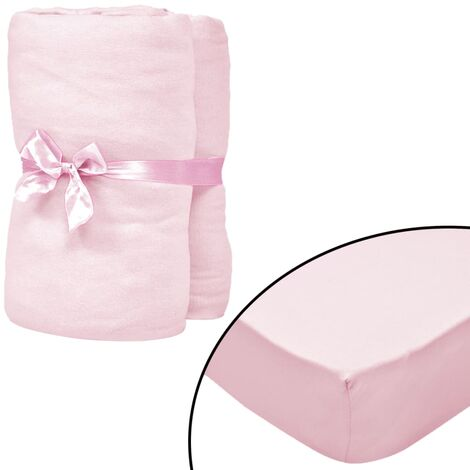 Fitted Sheets for Cots 4 pcs Cotton Jersey 60x120 cm Pink