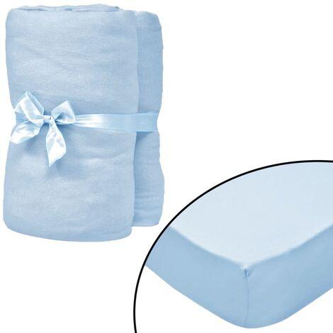 Fitted Sheets for Cots 4 pcs Cotton Jersey 70x140 cm Light Blue - Blue
