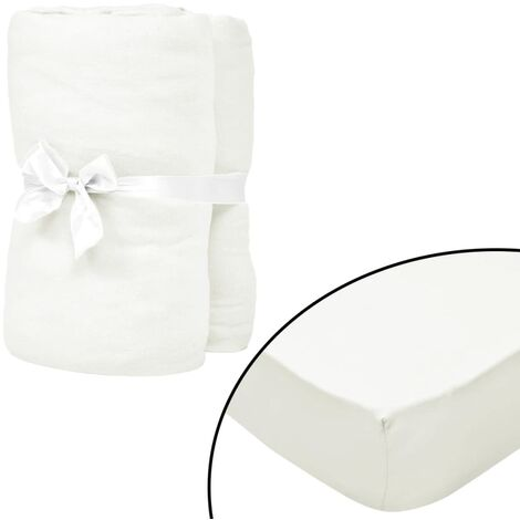 Fitted Sheets for Cots 4 pcs Cotton Jersey 70x140 cm Offwhite - White