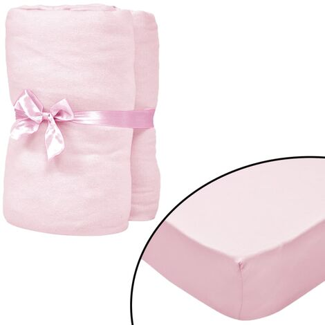 Fitted Sheets for Cots 4 pcs Cotton Jersey 70x140 cm Pink