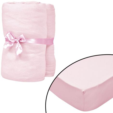 Fitted Sheets for Cots 4 pcs Cotton Jersey 70x140 cm Pink - Pink