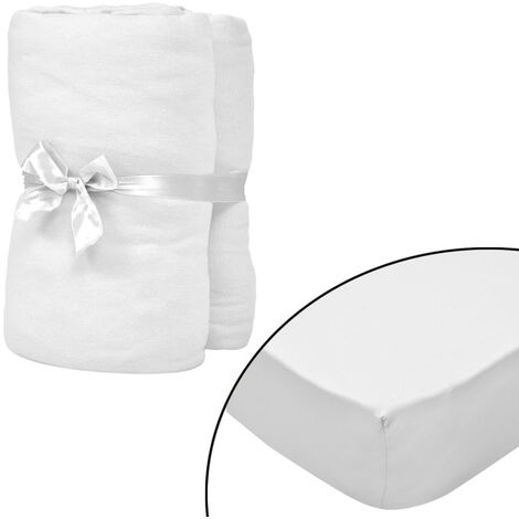Fitted Sheets for Cots 4 pcs Cotton Jersey 70x140 cm White - White