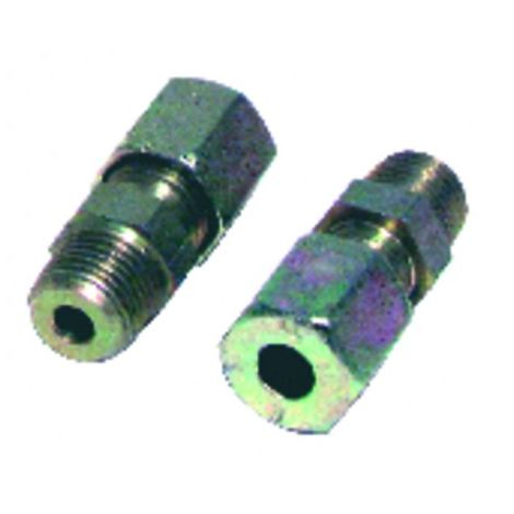 Fitting with ring straight m1/4 x tube 8mm (X 2)