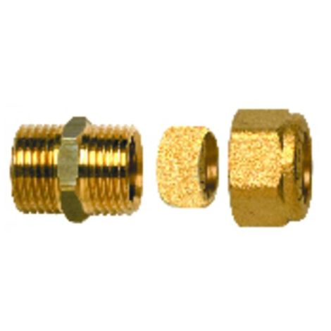 Fitting with ring - Straight M3/8 x tube 14mm (X 10)