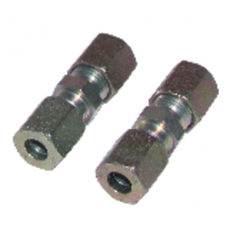 Fitting with ring straight tube 8mm x tube 8mm (X 2)