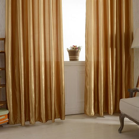 Five beauty satin curtains brown