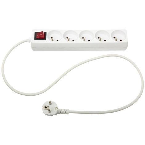 Five - Bloc multiprise électrique blanche 5 prises terre + interrupteur