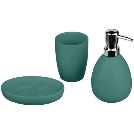 Five - Lot de 3 accessoires de salle de bain vert émeraude