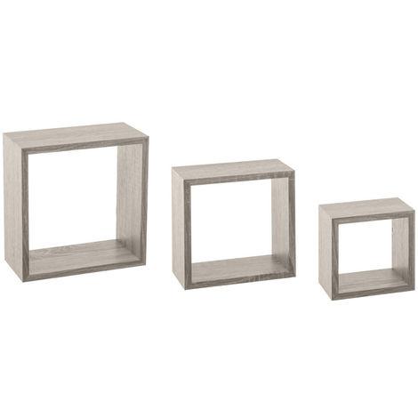 Five - Lot de 3 étagères murales cubes chêne gris