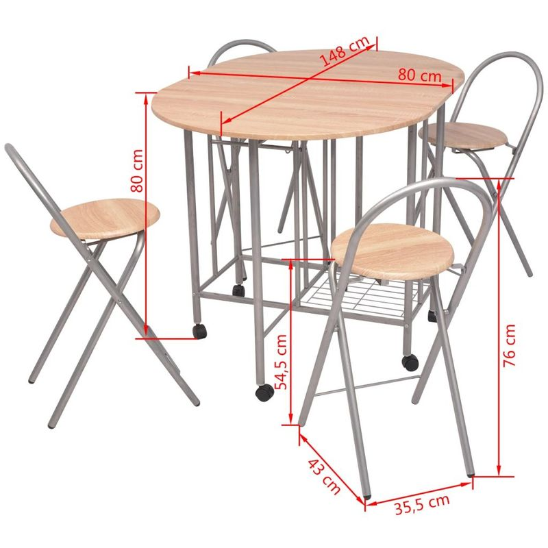 Lightweight Five Piece Folding Dining Table and Chair Set Kitchen Furniture MDF