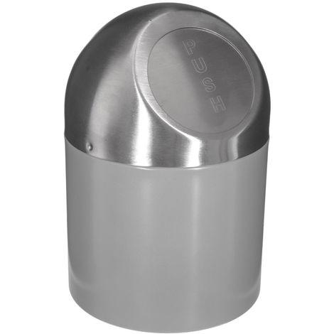 Five - Poubelle de salle de bain push gris inox