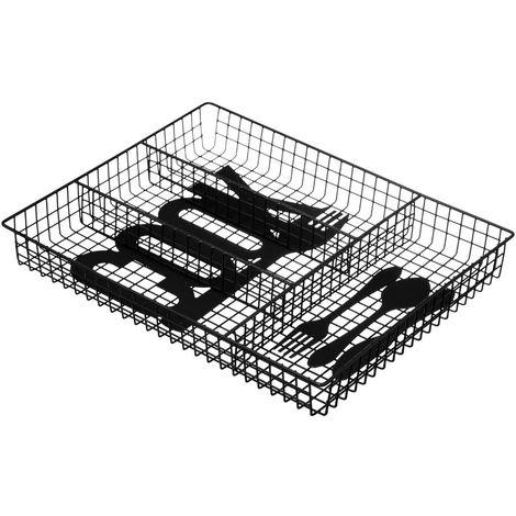 Five - Range Couvert en métal noir L 34 cm décor Cook