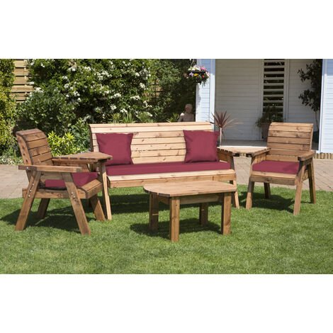 Five Seater Multi Set with Burgundy Cushions - Fully Assembled