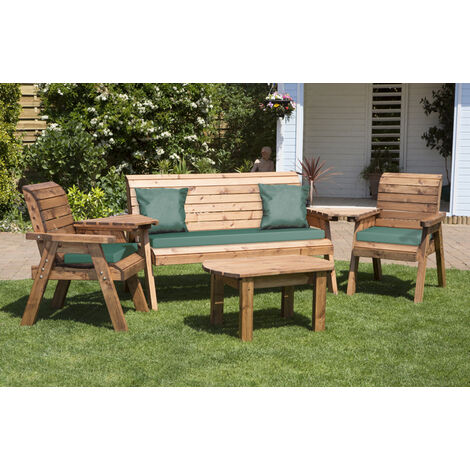Five Seater Multi Set with Green Cushions - Fully Assembled