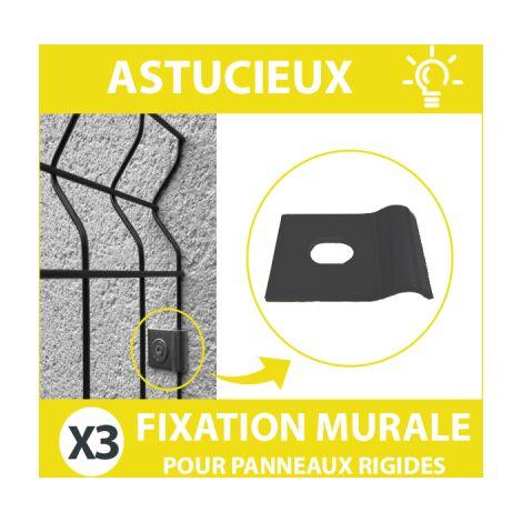 Fixation Murale Grise Panneau Grillage Rigide - Lot de 3