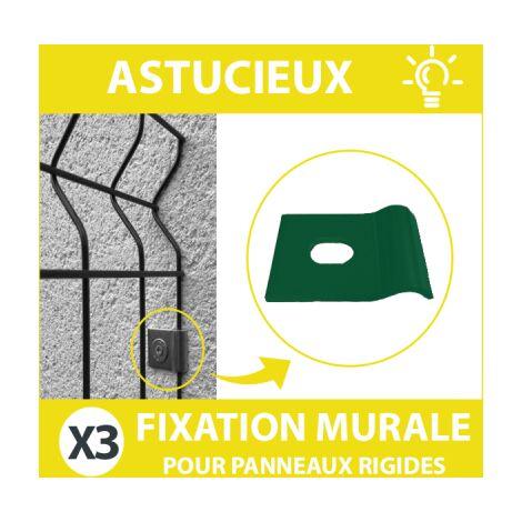 Fixation Murale Verte Panneau Grillage Rigide - Lot de 3