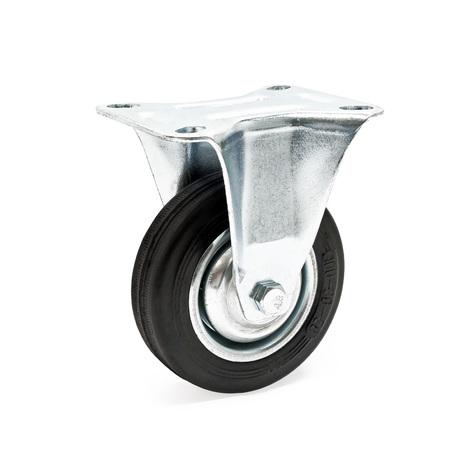 Fixed castor Ø200mm Rubber wheel Metal rims 150kg Load capacity transport trolley Furniture castor