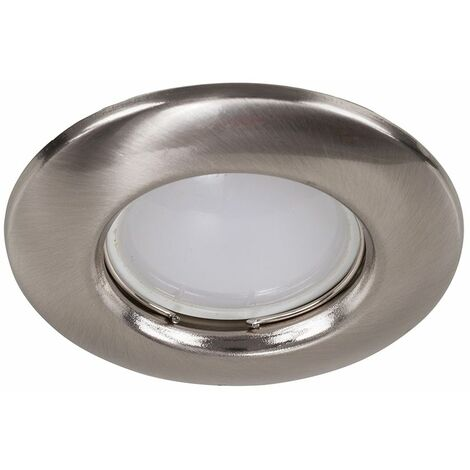 Fixed GU10 Ceiling Downlight + 5W Warm White LED Bulb - Black Chrome - Silver