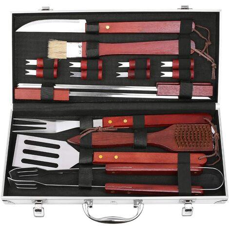 FIXKIT 18 Pièces Kit de Barbecue d'Extérieur Barbecue Accessoire Complet dans un Boîtier en Aluminium, BBQ Outils Ustensiles, Ideal pour Jardin, Voyage ou Camping