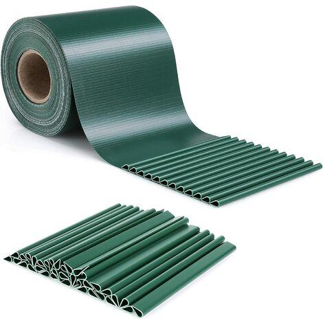 FIXKIT 35 m x 19 cm Paravent Brise Vue Visuelle Protectiont en PVC, avec 30 pcs Clips de Montage, pour Clôture de Jardin, 450g/m², Vert Fond
